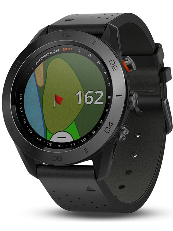 Garmin Approach S60 Premium Black Ceramic Bezel with Black Leather Band AS60BCBL
