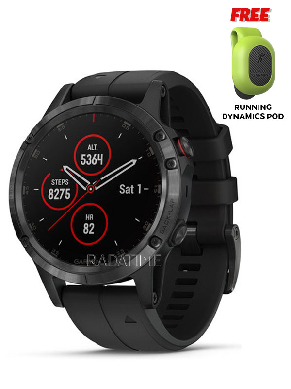 Garmin Fenix 5 Plus Sapphire, Black with Black Band FN5PSBB