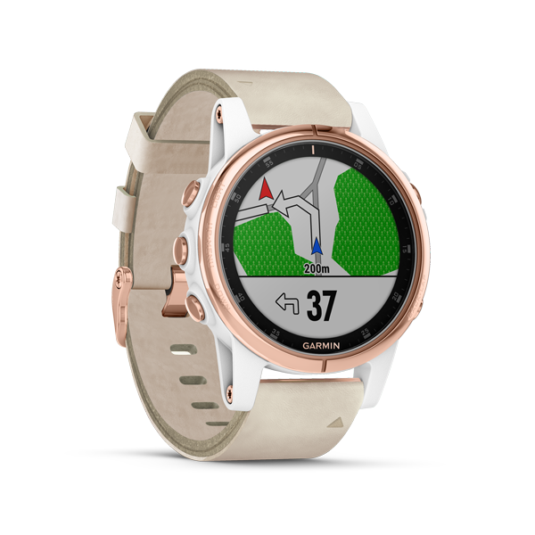 Garmin Fenix 5S Plus Rose Gold with Beige Leather Band FN5SPRGBL